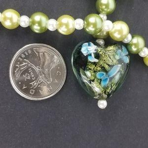 Jewelry - Glass heart Shape pendant beaded chain